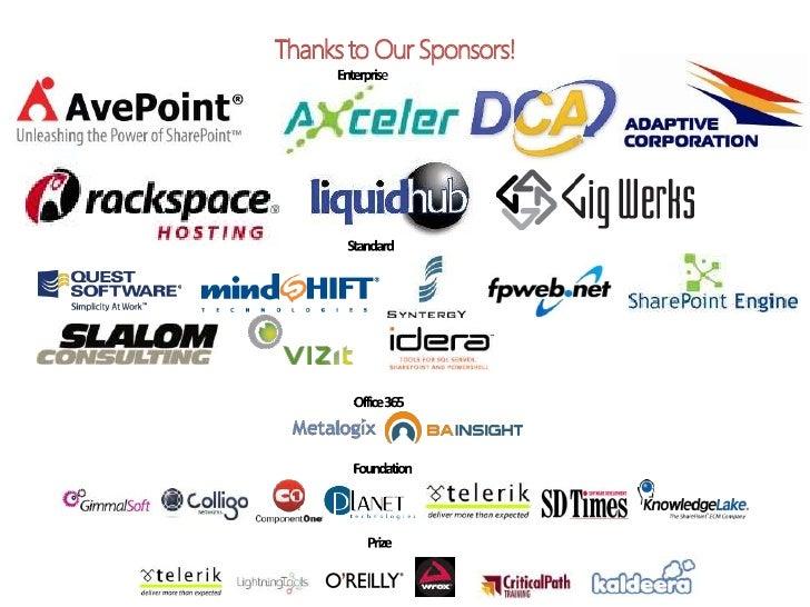 Thanks to Our Sponsors!<br />Enterprise<br />Standard<br />Office 365<br />Foundation<br />Prize<br />