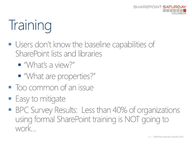 """Training<br />Users don't know the baseline capabilities of SharePoint lists and libraries<br />""""What's a view?""""<br />""""Wha..."""