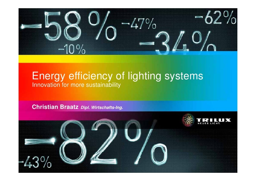 Energy efficiency of lighting systems Innovation for more sustainability   Christian Braatz   Dipl. Wirtschafts-Ing.