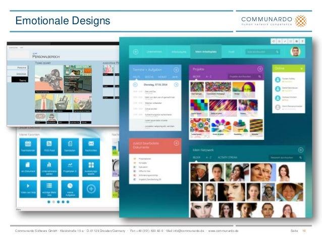 Emotionale Designs  Communardo Software GmbH · Kleiststraße 10 a · D-01129 Dresden/Germany · Fon +49 (351) 833 82-0 · Mail...