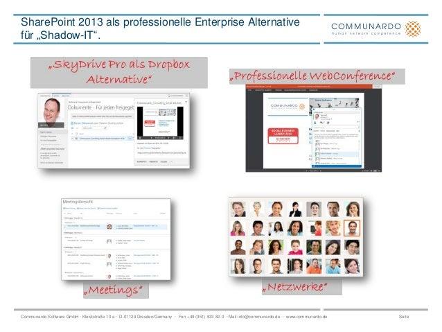 """SharePoint 2013 als professionelle Enterprise Alternative für """"Shadow-IT"""".  Communardo Software GmbH · Kleiststraße 10 a ·..."""