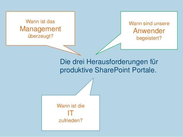 Wann ist das  Wann sind unsere  Management  Anwender  überzeugt?  begeistert?  Die drei Herausforderungen für produktive S...