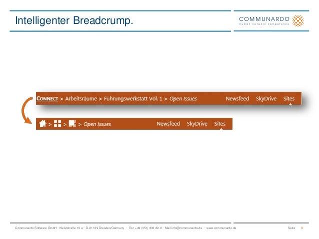 Intelligenter Breadcrump.  Communardo Software GmbH · Kleiststraße 10 a · D-01129 Dresden/Germany · Fon +49 (351) 833 82-0...
