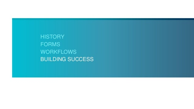 HISTORY FORMS WORKFLOWS BUILDING SUCCESS