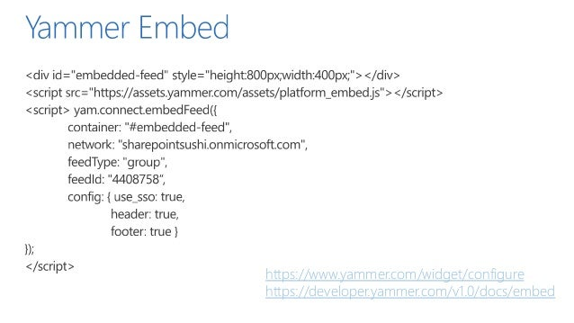 Yammer integration options in SharePoint - SharePoint Saturday Helsinki