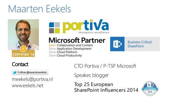 CTO Portiva / P-TSP Microsoft Speaker, blogger Top 25 European SharePoint Influencers 2014 Contact meekels@portiva.nl www....