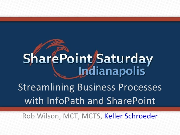 Streamlining Business Processes with InfoPath and SharePoint Rob Wilson, MCT, MCTS,  Keller Schroeder