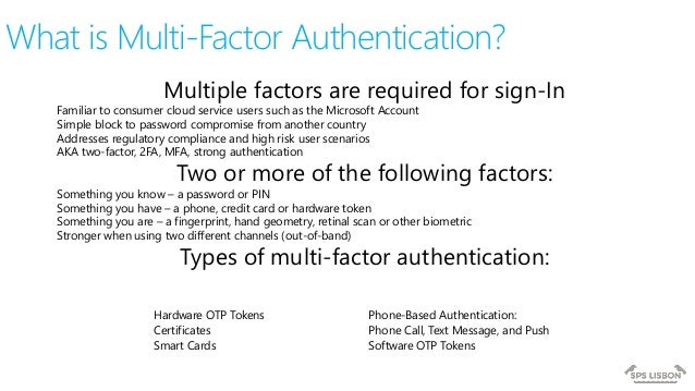 SPSLisbon 2017 Office 365 Multi-factor Authentication with