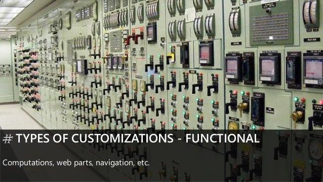 TYPES OF CUSTOMIZATIONS - FUNCTIONAL Computations, web parts, navigation, etc.