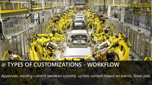 TYPES OF CUSTOMIZATIONS - WORKFLOW Approvals, moving content between systems, update content based on events, timer jobs
