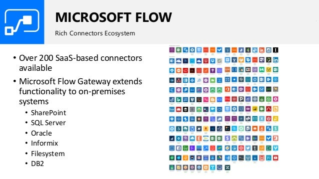 MICROSOFT FLOW Rich Connectors Ecosystem • Over 200 SaaS-based connectors available • Microsoft Flow Gateway extends funct...