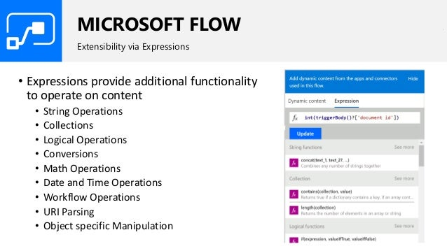 MICROSOFT FLOW Extensibility via Expressions • Expressions provide additional functionality to operate on content • String...