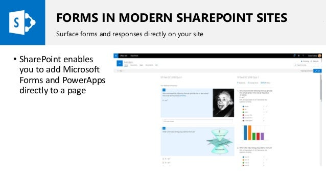 FORMS IN MODERN SHAREPOINT SITES Surface forms and responses directly on your site • SharePoint enables you to add Microso...