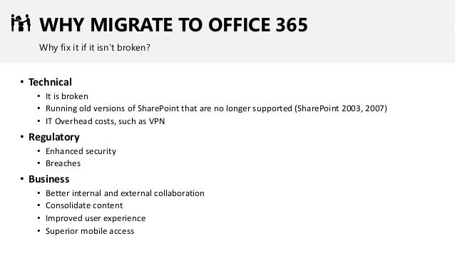 WHY MIGRATE TO OFFICE 365 Why fix it if it isn't broken? • Technical • It is broken • Running old versions of SharePoint t...