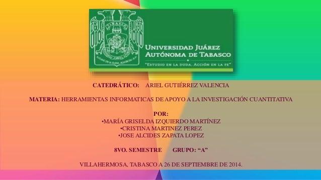 CATEDRÁTICO: ARIEL GUTIÉRREZ VALENCIA  MATERIA: HERRAMIENTAS INFORMATICAS DE APOYO A LA INVESTIGACIÓN CUANTITATIVA  POR:  ...