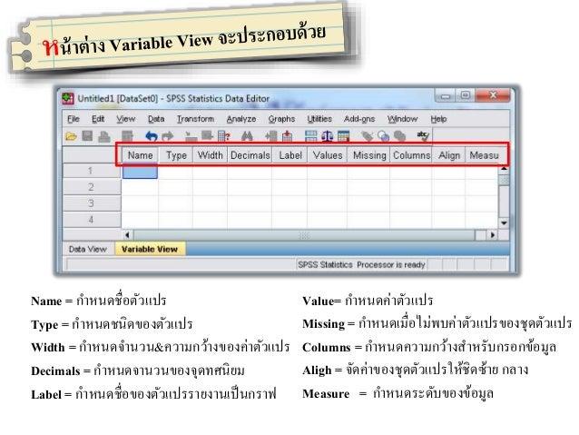 SPSS ในรุ่นนี้สามารถเข้ากันได้ดีกับภาษาไทย โดยเราสามารถเลือก รูปแบบอักษรและขนาดได้ตามต้องการ วิธีการเลือก : View ------> F...