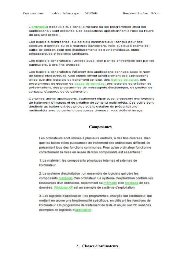 Dept scces comm module : Informatique 2015/2016 Boudabous Soufiane PhD st Composantes 2. Classes d'ordinateurs