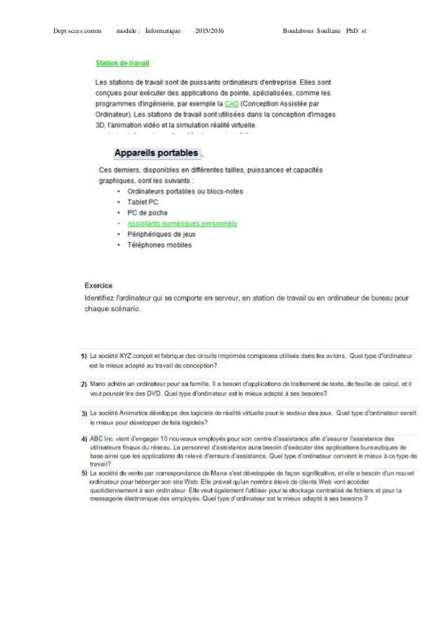 Dept scces comm module : Informatique 2015/2016 Boudabous Soufiane PhD st