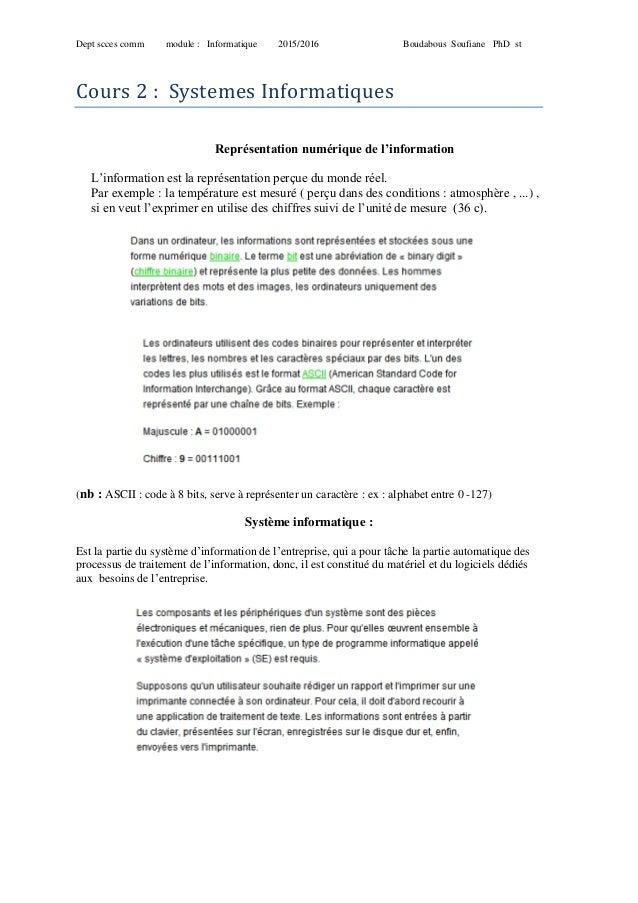 Dept scces comm module : Informatique 2015/2016 Boudabous Soufiane PhD st Cours 2 : Systemes Informatiques Représentation ...