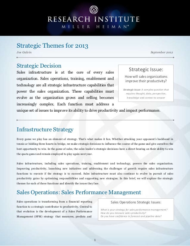 Spss 2012 research notes joe galvin_strategic themes for 2013