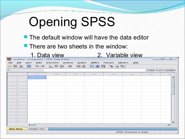 Variable View window This sheet contains information about the data set that is stored with the dataset Name  The first...