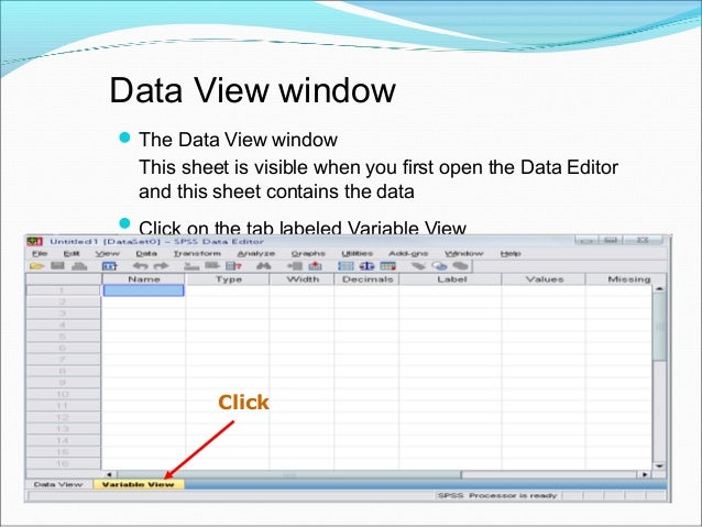 Variable View window: Type Type  Click on the 'type' box. The two basic types of variables that you will use are numeric...