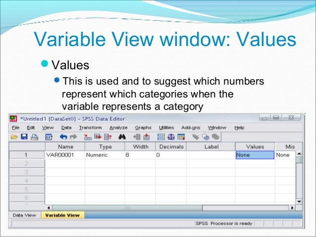Practice 1 How would you put the following information into SPSS? Value = 1 represents Male and Value = 2 represents Fema...