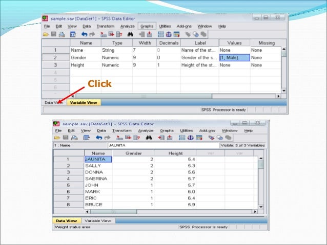 Sorting the data Click 'Data' and then click Sort Cases