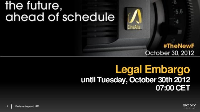 Legal Embargo                        until Tuesday, October 30th 2012                                              07:00 C...