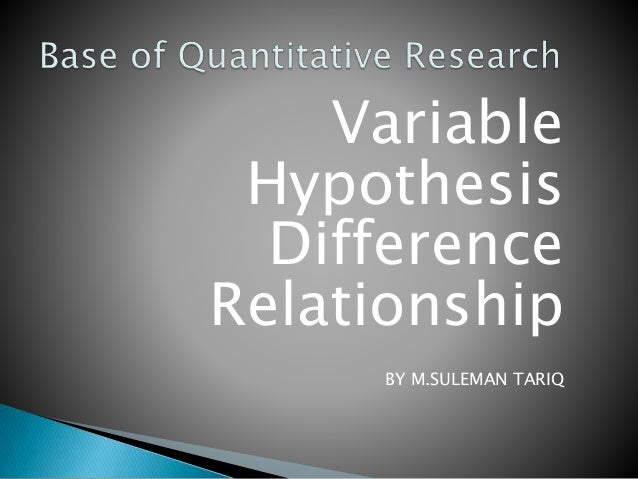 Variable Hypothesis Difference Relationship BY M.SULEMAN TARIQ