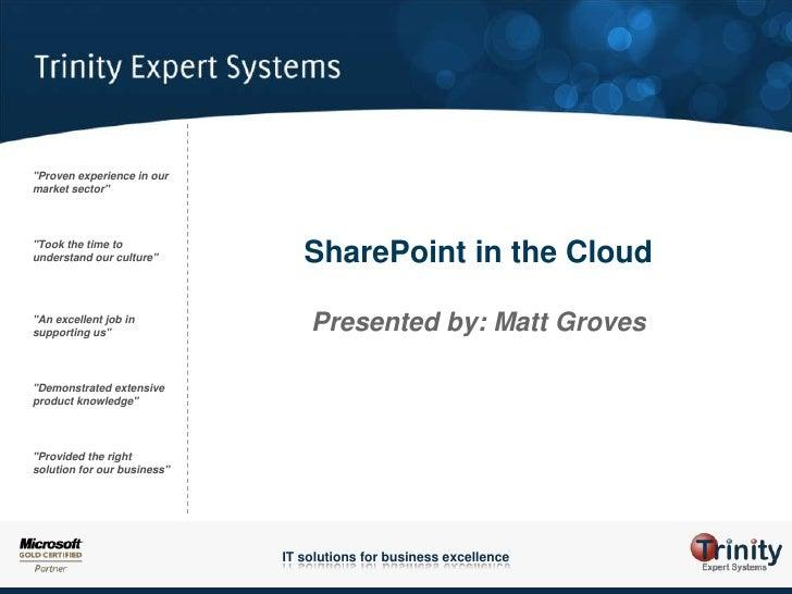 SPSUK - ITPro - Matt Groves - SharePoint in the cloud