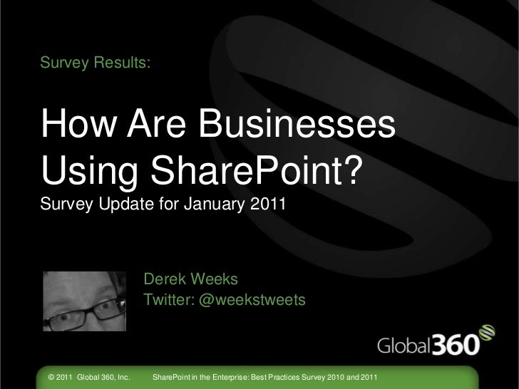 Survey Results:How Are Businesses Using SharePoint?Survey Update for January 2011Derek Weeks				Twitter: @weekstweets<br />