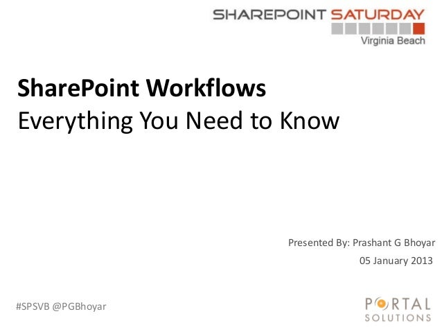 #SPSVB @PGBhoyar Presented By: Prashant G Bhoyar SharePoint Workflows Everything You Need to Know 05 January 2013