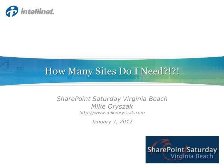 How Many Sites Do I Need?!?!  SharePoint Saturday Virginia Beach            Mike Oryszak        http://www.mikeoryszak.com...