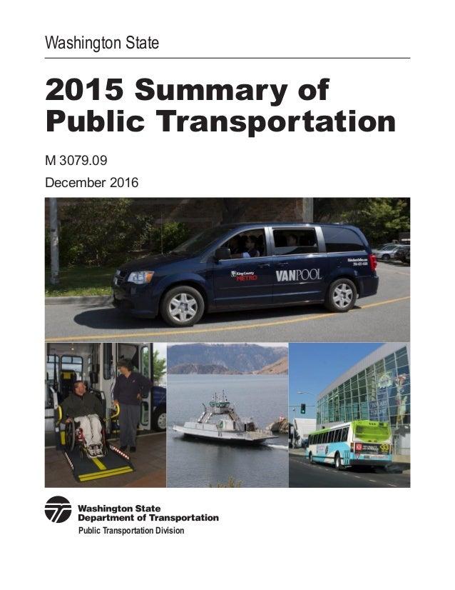 WSDOT 2015 Summary of Public Transportation