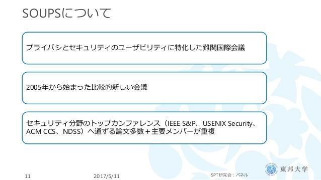 SOUPSについて 2017/5/11 SPT研究会:パネル11 プライバシとセキュリティのユーザビリティに特化した難関国際会議 2005年から始まった比較的新しい会議 セキュリティ分野のトップカンファレンス(IEEE S&P、USENIX S...