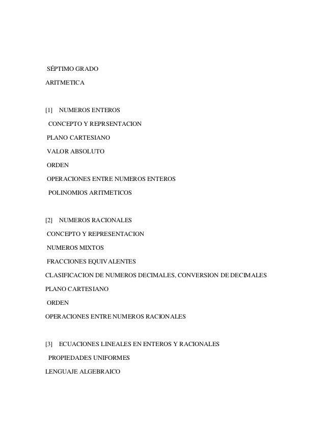 SÉPTIMO GRADO ARITMETICA [1] NUMEROS ENTEROS CONCEPTO Y REPRSENTACION PLANO CARTESIANO VALOR ABSOLUTO ORDEN OPERACIONES EN...