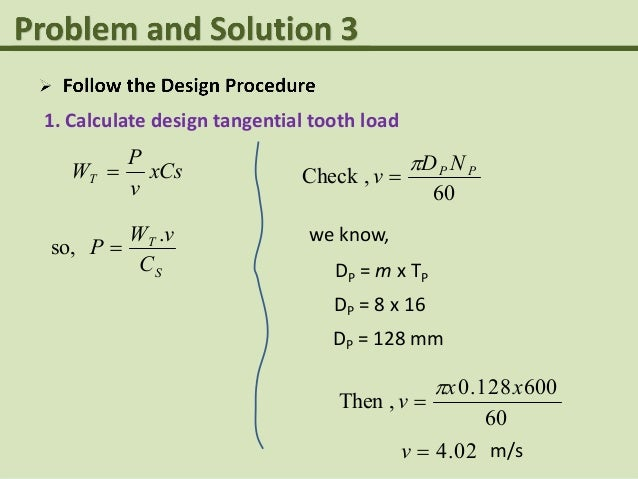 Spur gear problem and solution