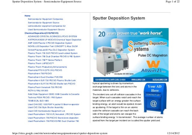 Sputter Deposition System - Semiconductor Equipment Source                                                                ...