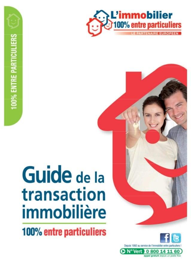 Guide de la transaction immobiliere entre particuliers