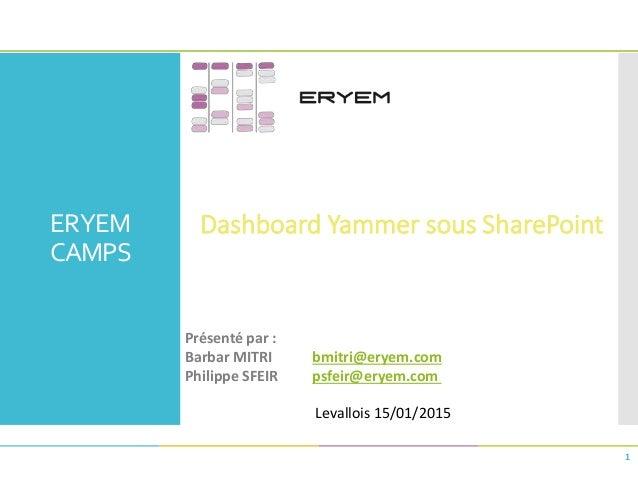 ERYEM CAMPS Dashboard Yammer sous SharePoint 1 Présenté par : Barbar MITRI bmitri@eryem.com Philippe SFEIR psfeir@eryem.co...