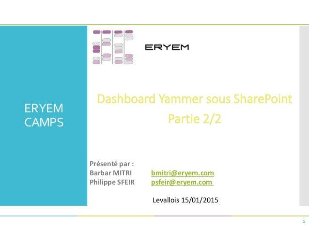 ERYEM CAMPS Dashboard Yammer sous SharePoint Partie 2/2 1 Présenté par : Barbar MITRI bmitri@eryem.com Philippe SFEIR psfe...