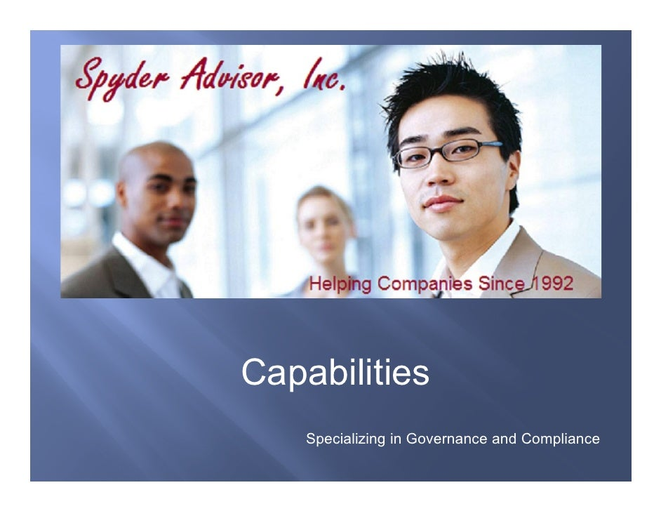 Capabilities     Specializing in Governance and Compliance