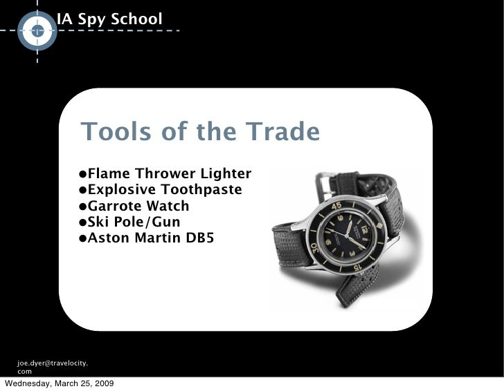 IA Spy School                         Tools of the Trade                    •Flame Thrower Lighter                    •Exp...