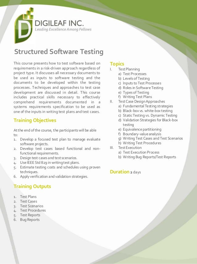 Structured Software Testing This course presents how to test software based on requirements in a risk-driven approach rega...