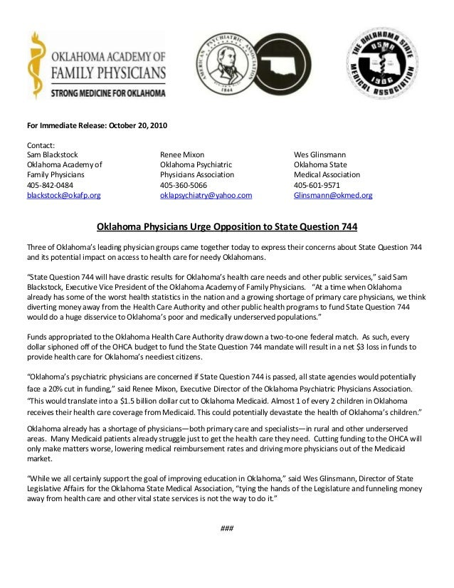 For Immediate Release: October 20, 2010 Contact: Sam Blackstock Renee Mixon Wes Glinsmann Oklahoma Academy of Oklahoma Psy...