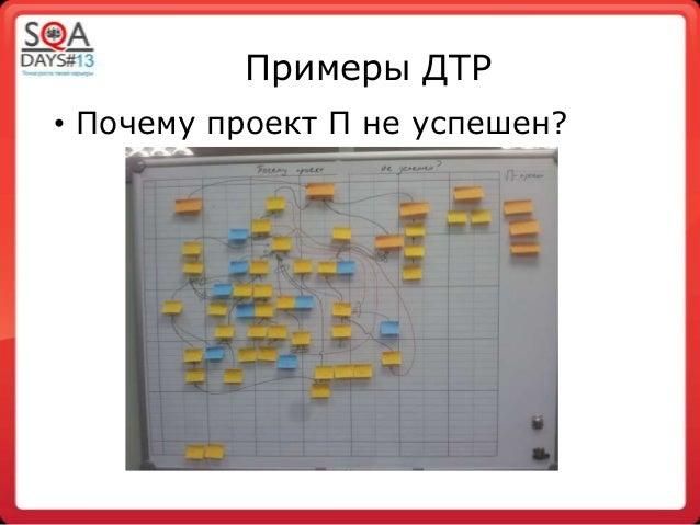 Примеры ДТР• Почему проект П не успешен?