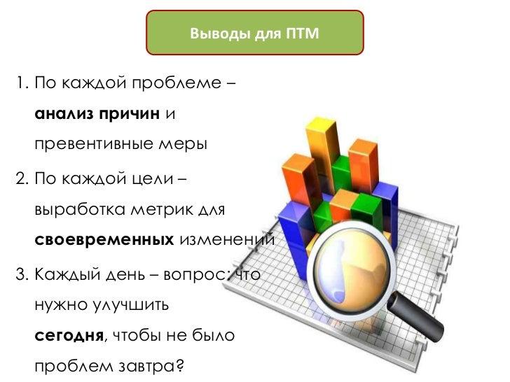 Выводы для ПТМ1. По каждой проблеме –  анализ причин и  превентивные меры2. По каждой цели –  выработка метрик для  своевр...