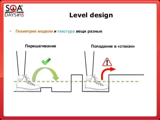 Level design • Геометрия модели и текстура вещи разные Перешагивание Попадание в «стакан»