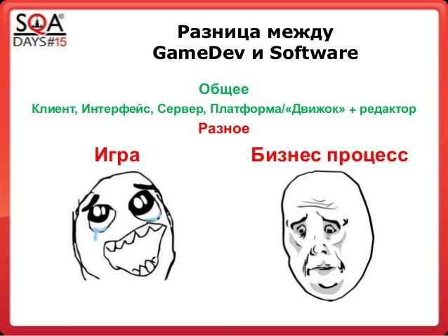Разница между GameDev и Software Общее Клиент, Интерфейс, Сервер, Платформа/«Движок» + редактор Разное Игра Бизнес процесс